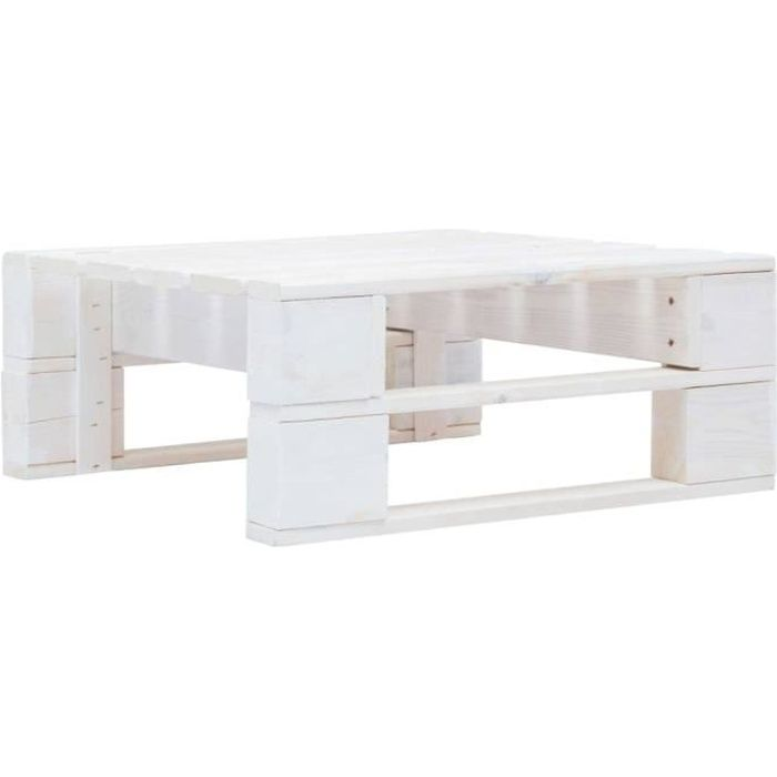 Table Basse Terrasse Salon -Pouf d'extérieur Magnifique- 60 x 60 x 25 cm Repose-pied palette de jardin - Bois Blanc��9572
