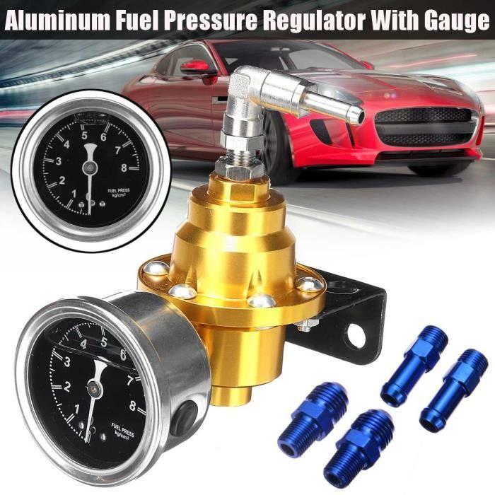 Réservoir D'essence,Régulateur de pression de carburant en aluminium réglable universel noir titane rouge or argent - Type Gold #A