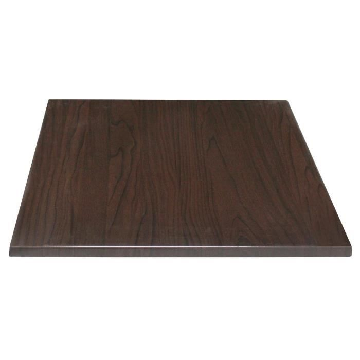 Bolero Table carrée Top brun foncé 700mm