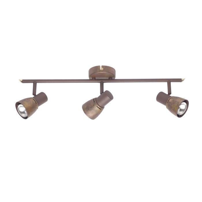 Barre triple spots orientables en métal cuivré longueur 60cm Lava-