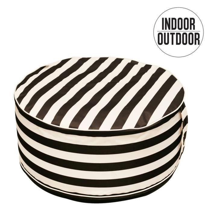 THE HOME DECO FACTORY Pouf Gonflable Raye M6 - Blanc et Noir