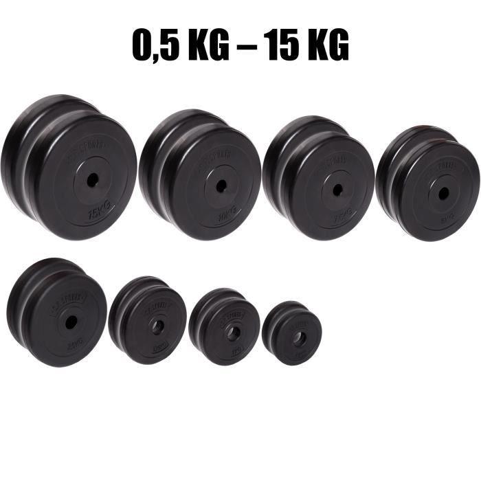 Haltère de sports C.P. - 1 paire de disques d'haltère de 30 mm - Plaques d'appui - 0,5-15 kg par paire, 1 KG Paar