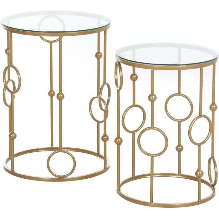 Tables gigognes lot de 2 tables basses rondes design style art déco Ø 41 et Ø 36 cm métal doré verre trempé 5 mm 41x41x57cm Doré