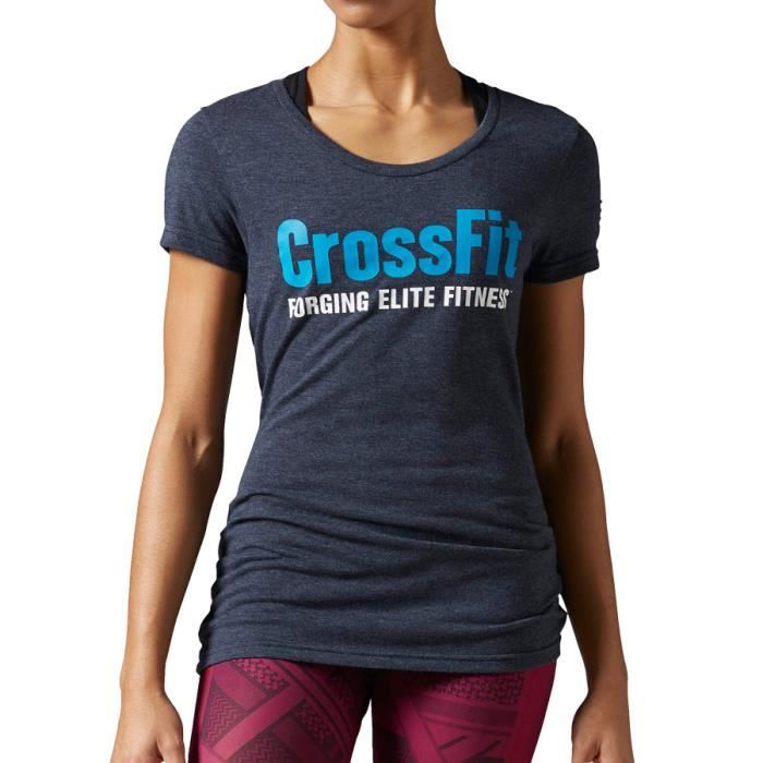 T-shirt Reebok CrossFit Forging Elite Fitness manches courtes bleu femme