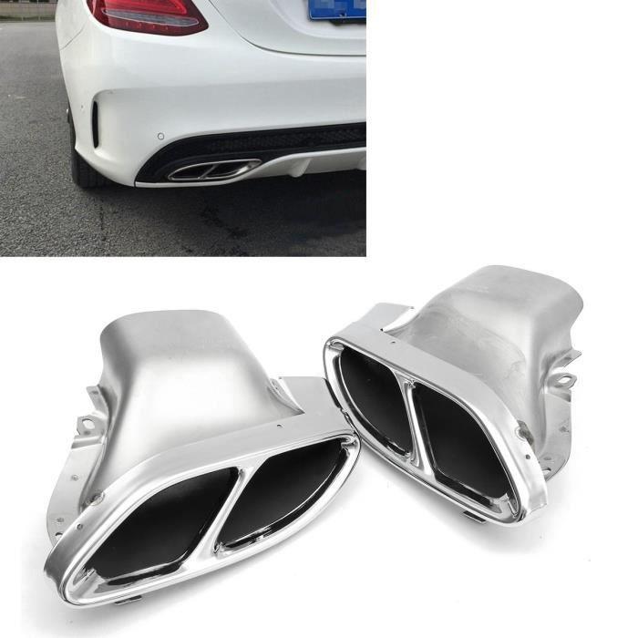 T4W 2x Tuyau échappement Embout Silencieux Pour Mercedes-Benz W205 C-CLASS 14-15 Chrome
