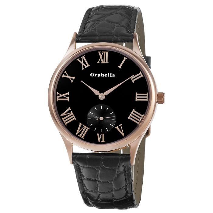 ORPHELIA - Montre Hommes - Quartz - Analogique - Bracelet en Cuir - Noir - 122-6703-44