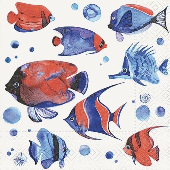 PAPER DESIGN - 20 Serviettes 33x33 cm - Tropical fish