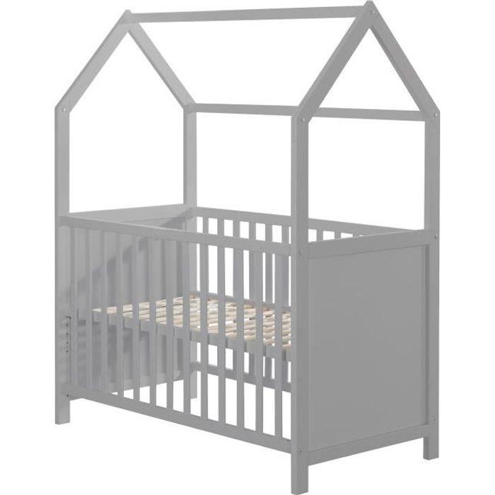 ROBA Lit cabane 60x120 cm, certifié FSC, lit bébé et berceau cododo, gris, réglable en 3 directions, convertible