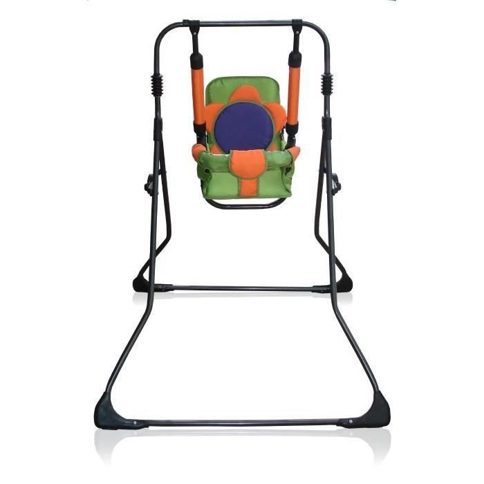 Balancelle berceau transat chaise haute 12m+ bébé enfant - Samba Plus 4en1 - Orange et Verte / Cadre noir. Orange Et Verte / Cadre
