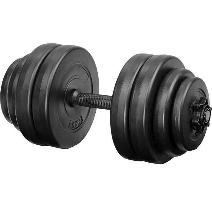 TECTAKE 1 Haltère Court 46 cm et 8 Disques en Acier 2 x 0,75 kg + 2 x 1,25 kg + 4 x 2,5 kg Noir