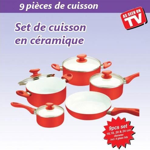 set cuisson en c ramique 9 pi ces rouge achat vente batterie de cuisine set cuisson en. Black Bedroom Furniture Sets. Home Design Ideas