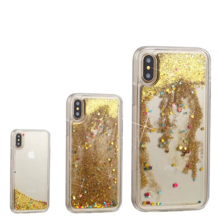 coque iphone x liquide paillette