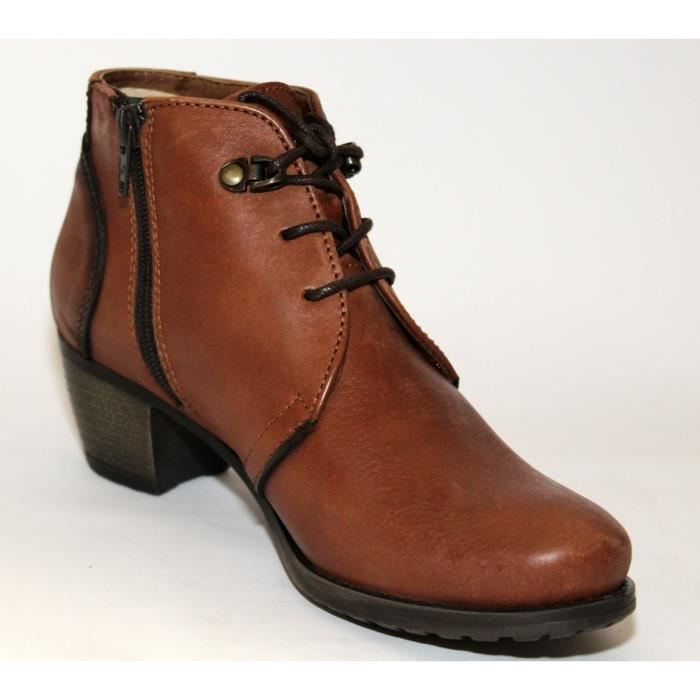 BOTTINES BASSES CHAUSSURES CUIR MARRON MODE FEMME T 40 NEUVES