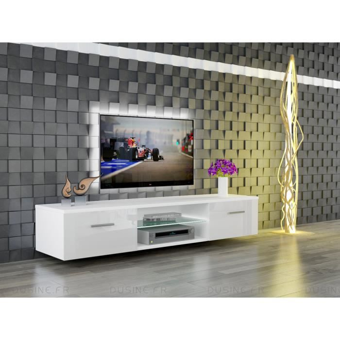 Meuble tv suspendu giuliano blanc laqu et blanc mat 160 for Meuble de tv suspendu