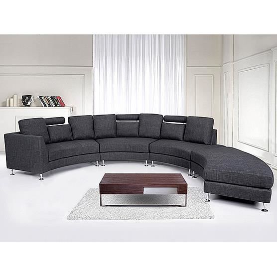 Canap d 39 angle canap en tissu gris sofa rotunde for Canape d angle arrondi