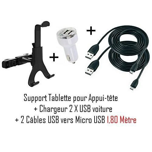 cabling pack tablette pour voiture support appuis t te chargeur micro usb allume cigarre. Black Bedroom Furniture Sets. Home Design Ideas
