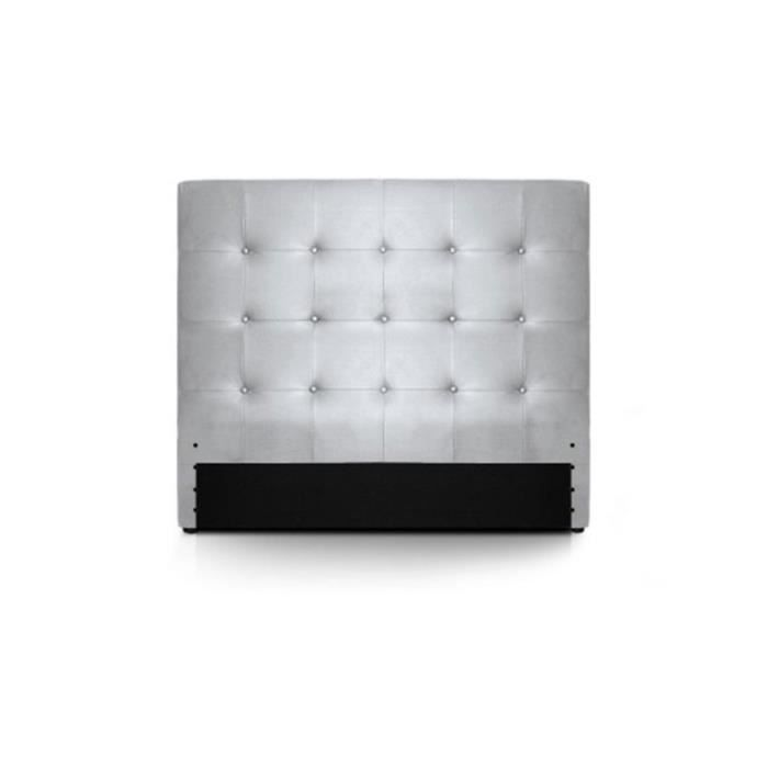 tete de lit 140 capitonne cuir argent romeo moncornerdeco. Black Bedroom Furniture Sets. Home Design Ideas