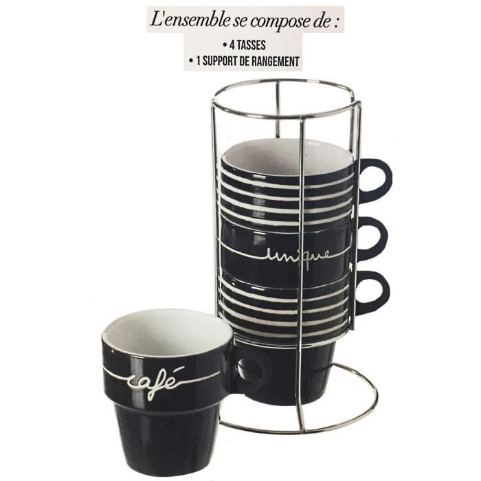 4 tasse cafe support metal unique noir mug empilable cuisine vaisselle achat vente bol mug. Black Bedroom Furniture Sets. Home Design Ideas