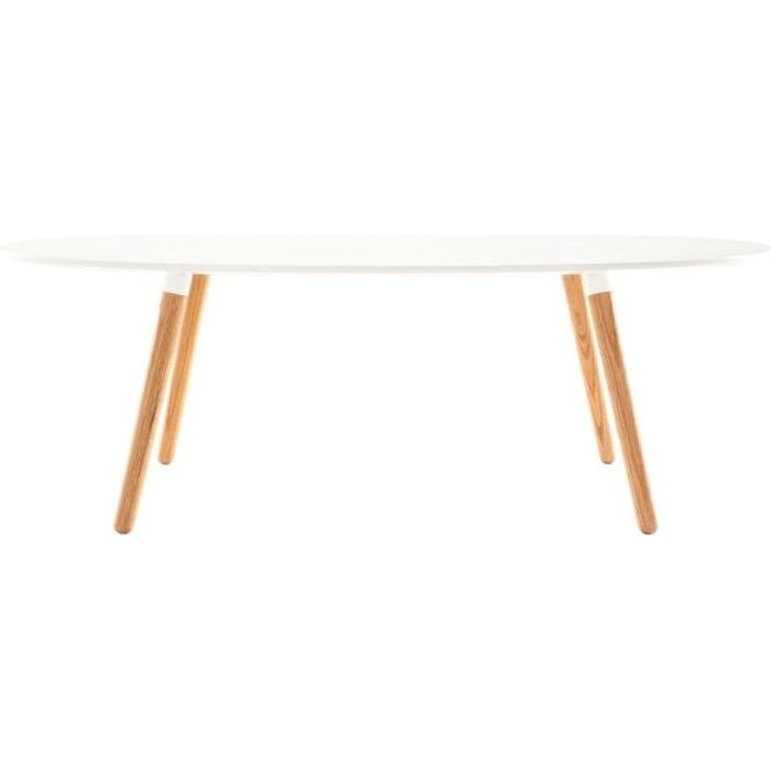 Miliboo table basse design bois naturel et bl achat for Table scandinave blanc et bois