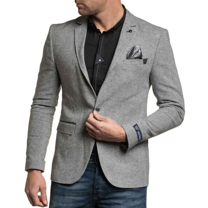blazer homme chic avec coudi res gris achat vente veste cdiscount. Black Bedroom Furniture Sets. Home Design Ideas
