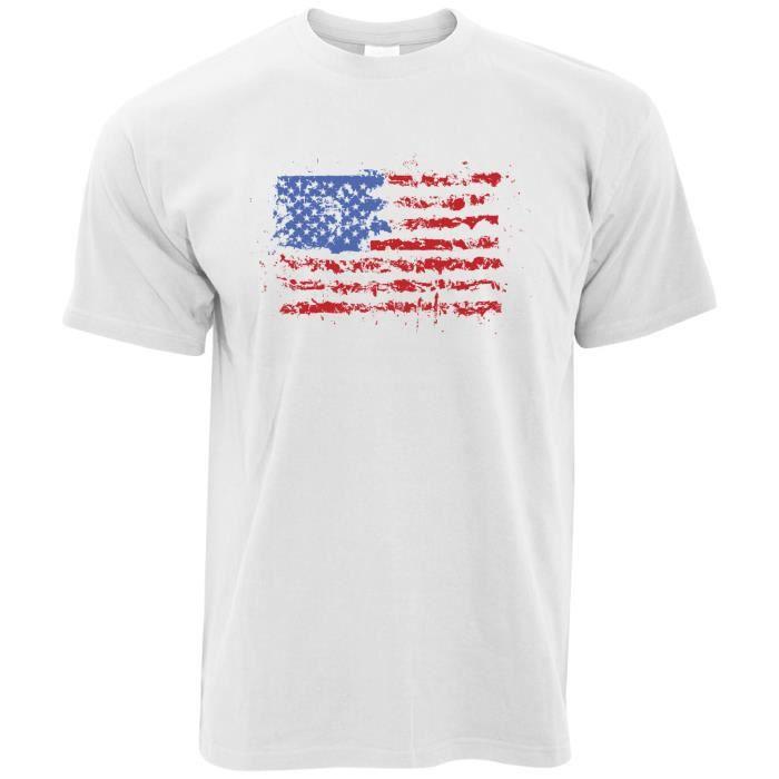 T Shirt Homme Drapeau Americain Peinture Splat Usa Rayures D Etoiles Amerique Imprimer Design Le T Shirt Homme Blanc Achat Vente T Shirt Cdiscount