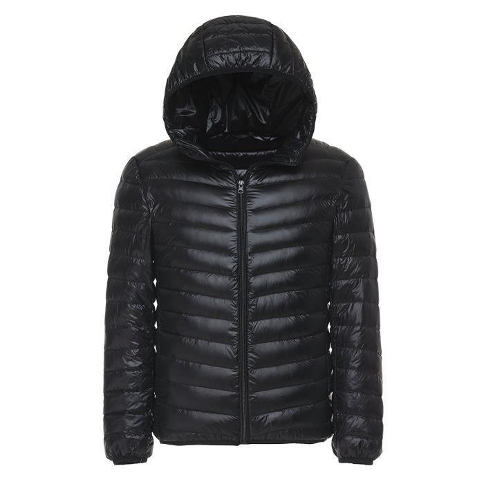 Hommes Ultra Légère Courte Doudoune Manches longues Parka Zippée Capuche Blouson D'hiver Vestes Down Compressible Noir