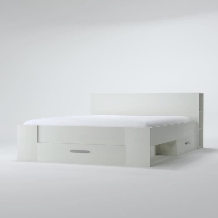 oxygene lit adulte contemporain blanc mat l 140 x l 190. Black Bedroom Furniture Sets. Home Design Ideas