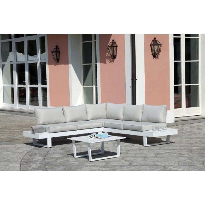 Salon De Jardin En Aluminium Blanc Avec Coussins Gris Clair Achat Vente Ensemble Table Et Chaise De Jardin Salon De Jardin Blanc Cdiscount