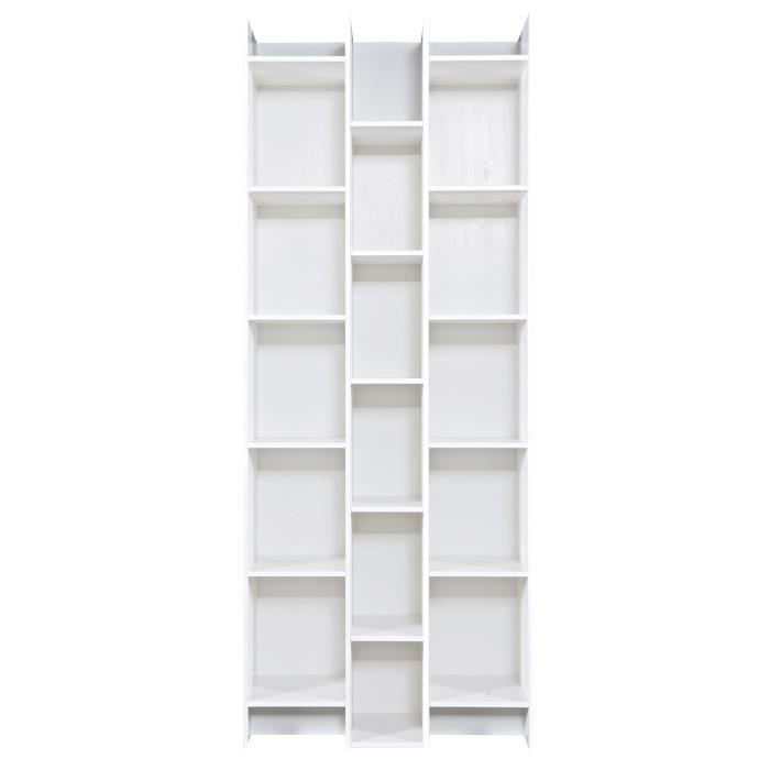 biblioth que 3 colonnes en pin massif blanc h 200 x l 80 x p 35 cm achat vente biblioth que. Black Bedroom Furniture Sets. Home Design Ideas