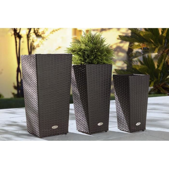 lot de 3 cache pots gigognes en r sine synth tique tress e. Black Bedroom Furniture Sets. Home Design Ideas