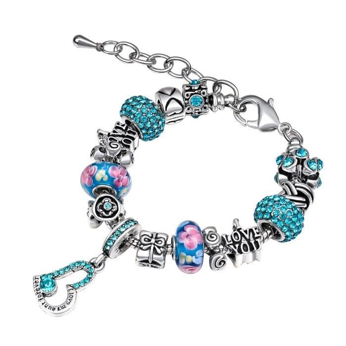Womens Charm Bracelets For Diy Jewelry Family Themed Charming Rhinestone Glass Love Heart Shape E Q3TVF