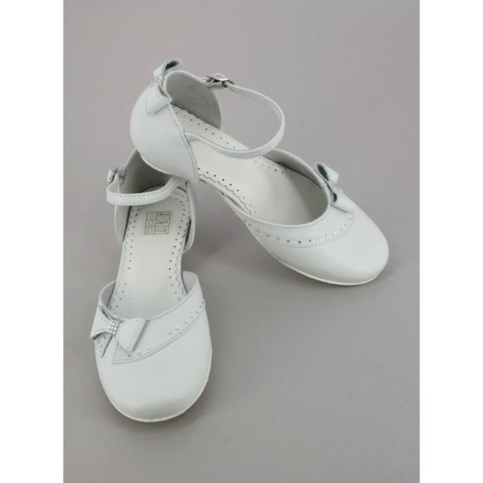 Chaussures blanches fille en cuir Elora
