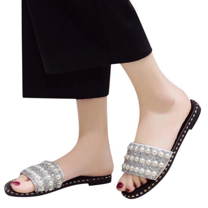 Été Perle Mode féminine Paillettes Flats Sandales antidérapantes Chaussures de plage sauvage ZHQ81229357WH Blanc