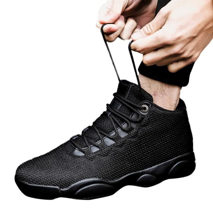 Loisirs Hommes Net Surface Basketball course Chaussures plates antidérapante respirante Sneaker Noir LQT81225602BK Noir