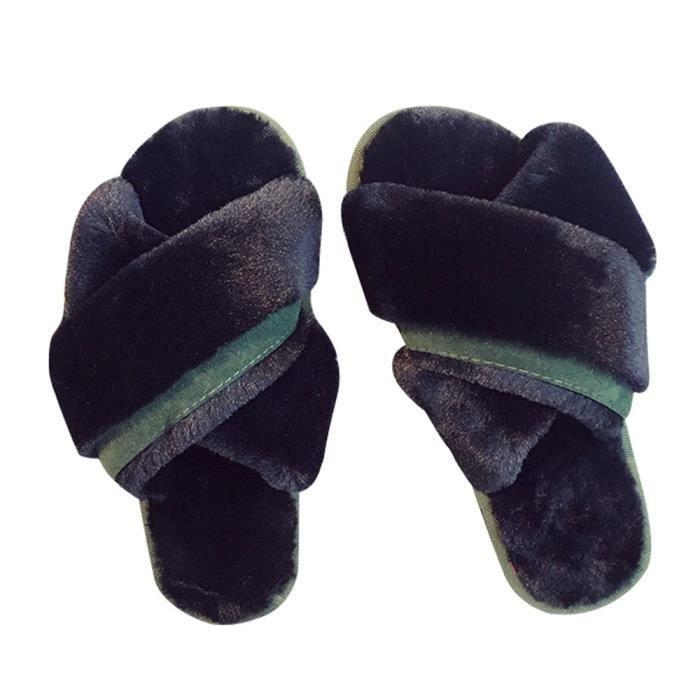 PANTOUFLE Femmes Mode Confortable chaud à fond plat Accueil toes Croix Chaussons de chaussures Noir LYH80727414BK