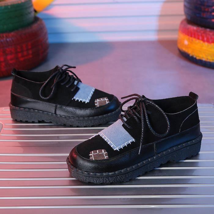 Femmes Mode Femmes Patchwork plat bout rond Chaussures Casual Mocassins Sneaker Noir PCD81231099BK Noir