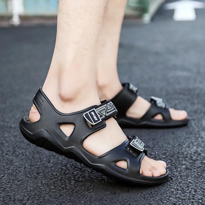 SANDALE - NU-PIEDS Été en plein air Hommes Flats Plage Casual Chaussures Sandales Respirant Sport Noir