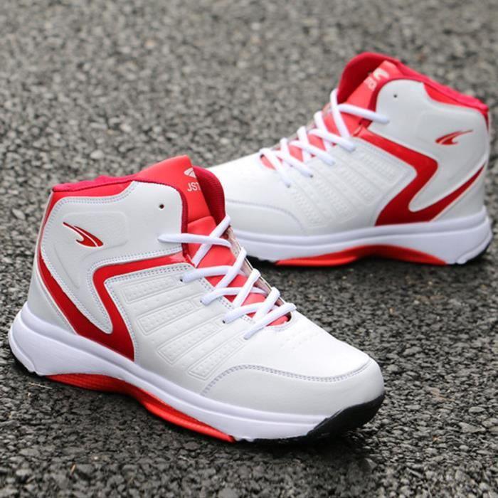 Outdoor hommes à lacets sport Casual Chaussures de basket-ball Chaussures Respirant Sneaker rouge;Taille asiatique  il est