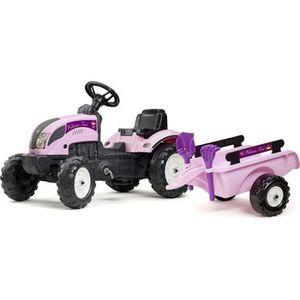 TRACTEUR - CHANTIER FALK Tracteur Princess Trac avec remorque - Rose