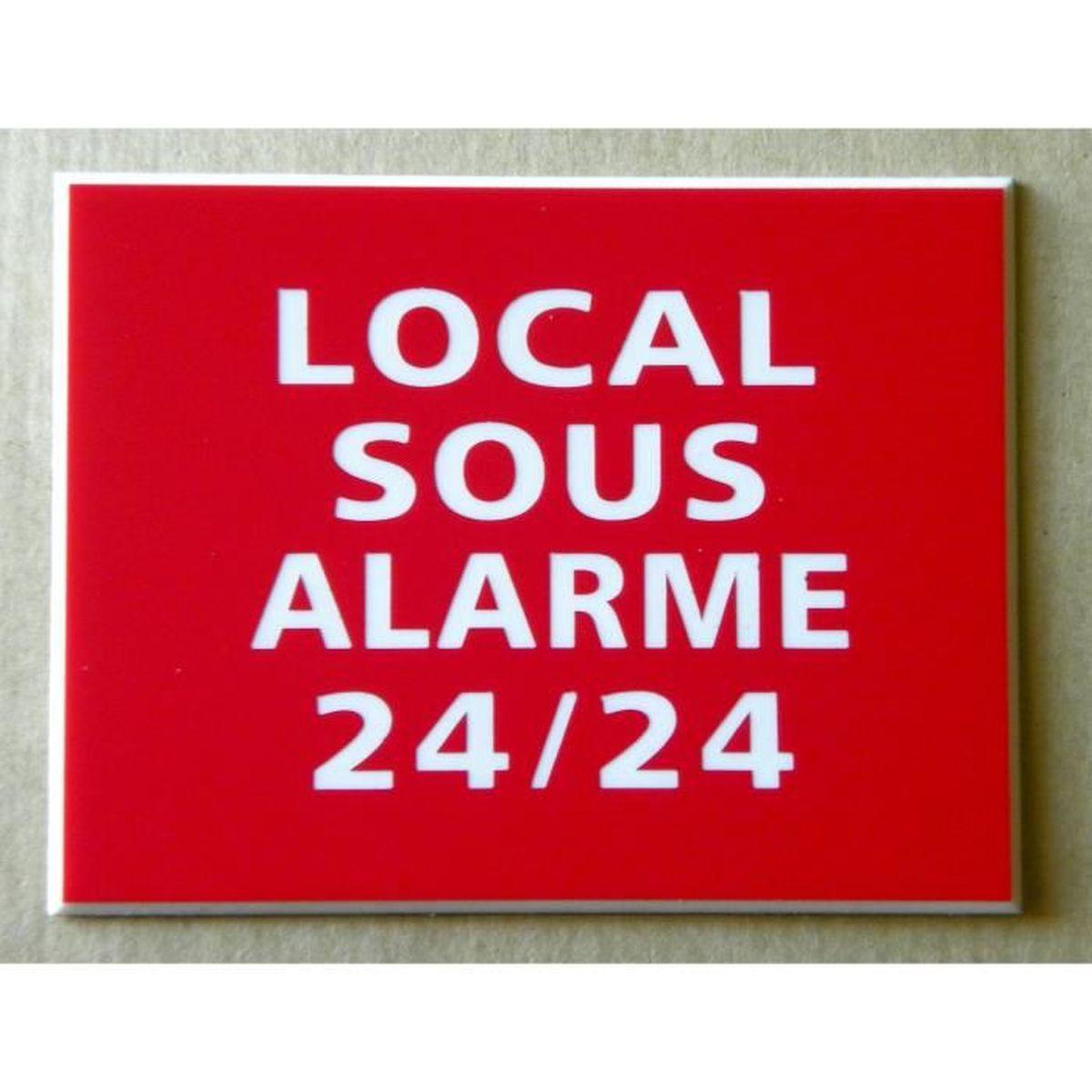 plaque gravée MAISON SOUS ALARME 24//24 Format 98 x 200 mm