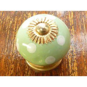 POIGNÉE - BOUTON MEUBLE Boutons en porcelaine poix vert clair