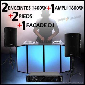 PACK SONO PACK SONO DJ 2 ENCEINTES 1400W TOTALE + AMPLI 1600