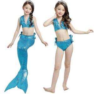 Costumes de Bain Queue de Sir/ène Filles Fishtail Costume Cosplay VGEBY1 3pcs Maillot de Bain Mer-Fille Enfants