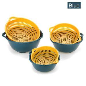 free size Vert Passoire de cuisine 2 en 1 multifonction avec poign/ée panier de drainage amovible /à double couche pour le nettoyage des fruits et l/égumes