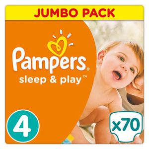 COUCHE PAMPERS Couche Sleep & Play Taille 4 - 70 couches