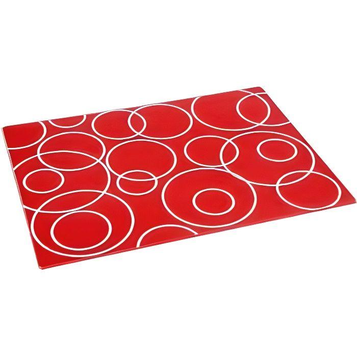 Planche à découper en verre - 30 x 40 cm - Verre - Rouge