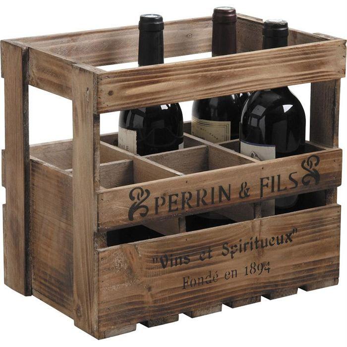 Caisse à vin en bois 6 bouteilles