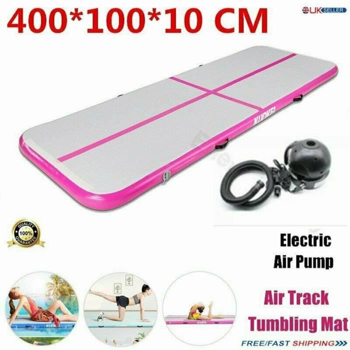 True 4M Air Track gonflable Tumbling Gymnastic Mat Floor Yoga Training Mat Pink