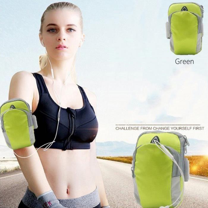 Sac de bras de téléphone portable de sport sac de bras de course sac de sport de plein air sac de bras étanche vert