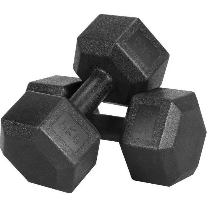 Yaheetech Lot de 2 Haltères Hexagonale chaque 5 kg Paire d'haltères Dumbbell Musculation Fitness Homme et Femme en Fer et PVC Noir